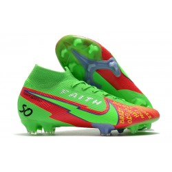Bota Nike Mercurial Superfly VII Elite DF FG Verde Rojo