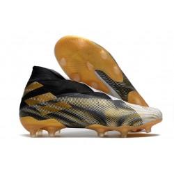 Adidas Botas de Fútbol Nemeziz 19+ FG - Blanco Dorado Metalizado Negro