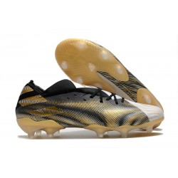 Bota de fútbol adidas Nemeziz 19.1 FG -Blanco Dorado Metalizado Negro