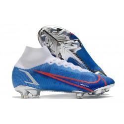 Zapatos Nike Mercurial Superfly 8 Elite FG Azul Blanco Rojo