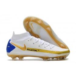 Bota Nike Phantom GT Elite Dynamic Fit DF FG Blanco Oro Azul