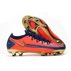 Bota de Futbol Nike Phantom GT Elite FG Naranja Azul Oro