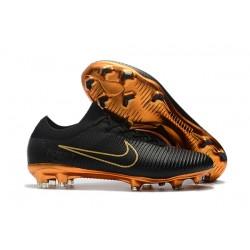 Nike Mercurial Vapor Flyknit Ultra FG Zapatillas de Ronaldo - Negro Oro