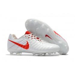 Nike Tiempo Legend VII FG Botas de Fútbol Con Tacos - Blanco Rojo