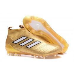 Botines de Futbol adidas Ace 17+ Purecontrol Fg - Oro Blanco