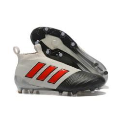 adidas Ace 17+ Purecontrol FG Nuevos Zapatillas de Fútbol - Gris Negro Rojo