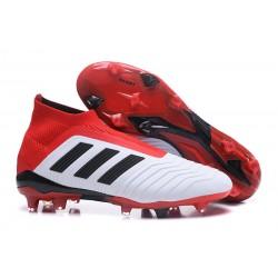 Zapatillas de Futbol Adidas Predator 18+ FG Blanco Rojo Negro