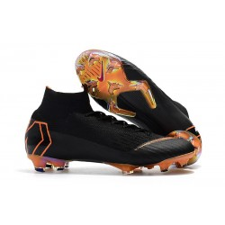 Nuevas Botas Nike Mercurial Superfly VI 360 Elite FG Negro Naranja