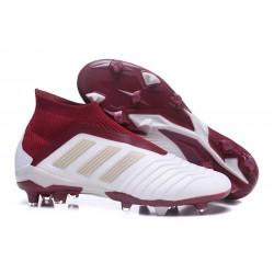 Adidas Tacos de Futbol Predator 18+ FG - Blanco Rojo