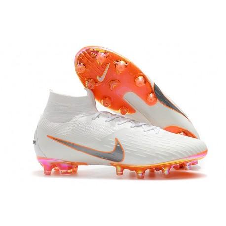 Nike Zapatos Mercurial Superfly 6 Elite AG-Pro Blanco Naranja