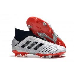 Zapatillas de Fútbol adidas Predator 19+ FG Plata Negro Rojo