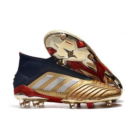 Zapatillas de Fútbol adidas Predator 19+ FG Oro Plata Rojo