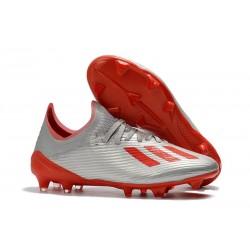 Zapatos de Futbol adidas X 19.1 FG Plata Rojo