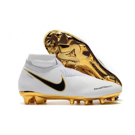 Nike Phantom Vision Elite DF FG Tacos de Futbol - Blanco Oro