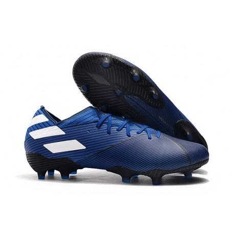 Zapatos 2018 diseño elegante reloj Bota de fútbol adidas Nemeziz 19.1 FG - Azul Blanco