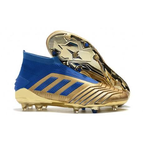 adidas Predator 19+ FG Zapatos de Fútbol - Oro Azul