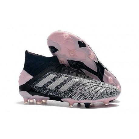 adidas Predator 19+ FG Zapatos de Fútbol - Negro Gris Rosa