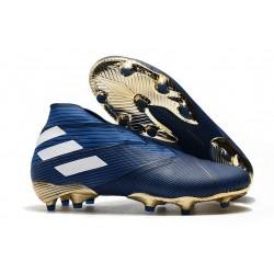 Zapatillas de Fútbol Adidas Nemeziz 19+ FG - Azul Blanco Negro
