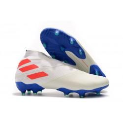 Zapatillas de Fútbol Adidas Nemeziz 19+ FG - Blanco Naranja