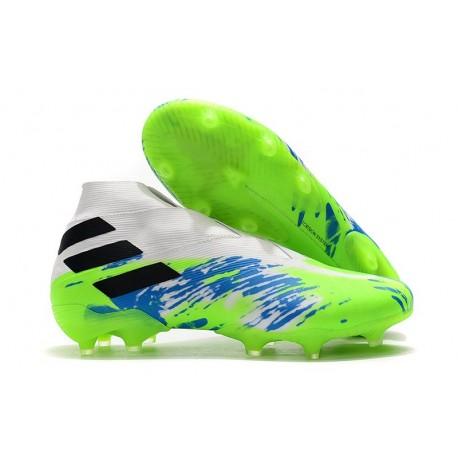 Zapatillas de Fútbol Adidas Nemeziz 19+ FG - Blanco Verde Negro