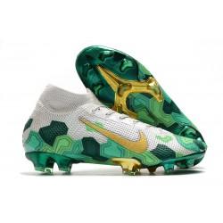 Mbappe Nike Mercurial Superfly 7 Elite FG Gris Dorado Metalizado Verde