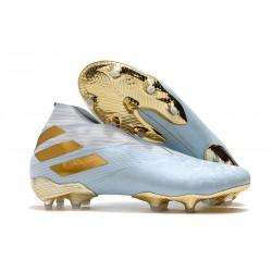 Adidas Botas de Fútbol Nemeziz 19+ FG -Agua/Dorado metalizado /Blanco