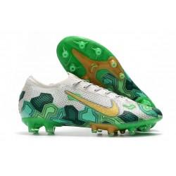 Zapatillas Nike Mercurial Vapor 13 Elite AG-Pro Mbappe Gris Dorado Metalizado Verde