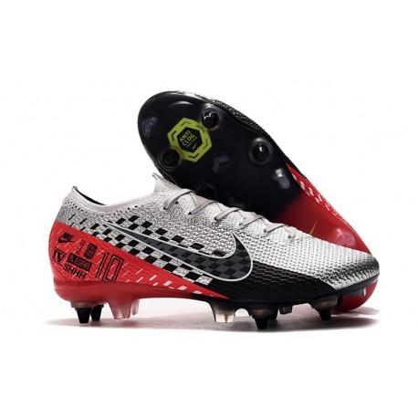 Botas Nike Mercurial Vapor 13 Elite SG-Pro Neymar Cromado Negro Rojo Platino