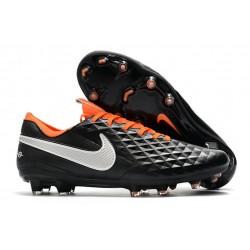 Zapatos de Fútbol Nike Tiempo Legend VIII Elite FG Negro Blanco Naranja